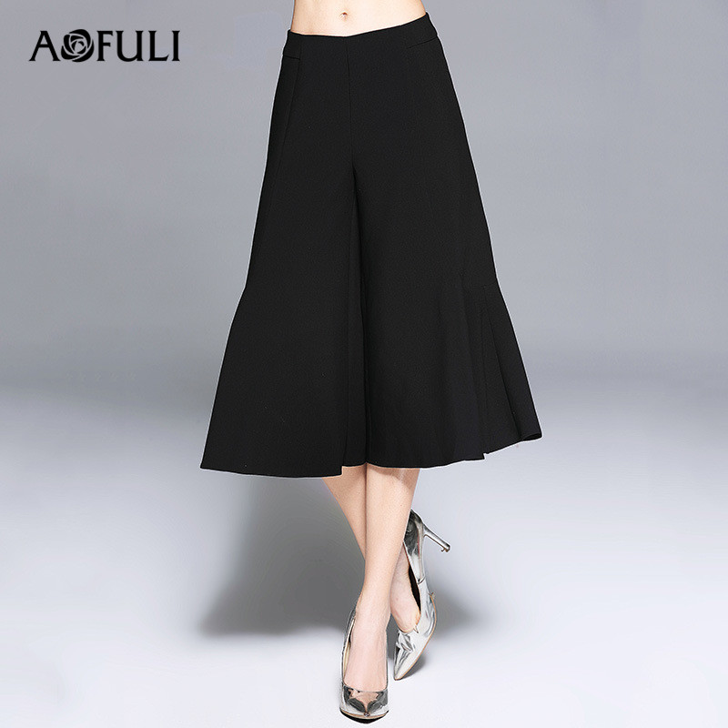 AOFULI L- 3XL 4XL 5XL Plus size Women Pants 2017 Autumn Winter Thick High Waist Loose Wide leg Black Loose pants Calf Length