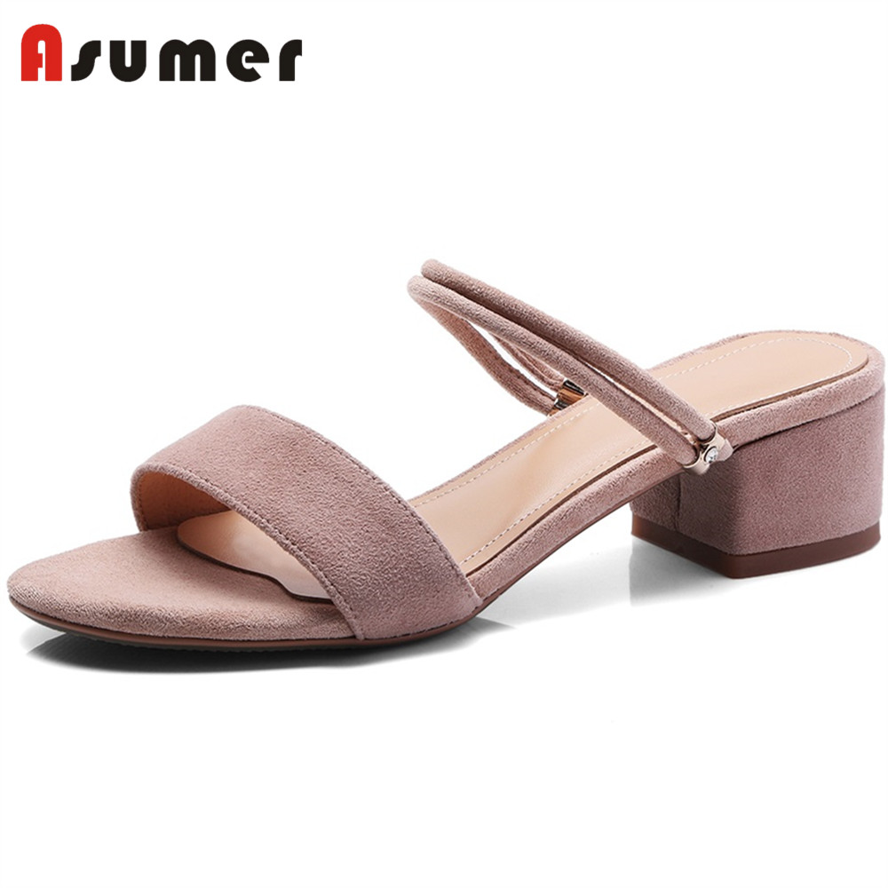ASUMER Sandals Dress Wedding-Shoes Square High-Heels Fashion Woman Suede New-Arrivals
