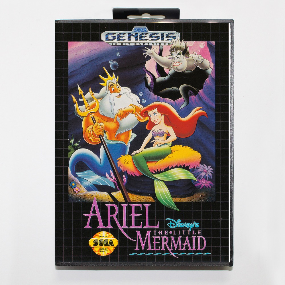 New 16 bit MD game card - ariel the little mermaid with Retail box For Sega genesis system