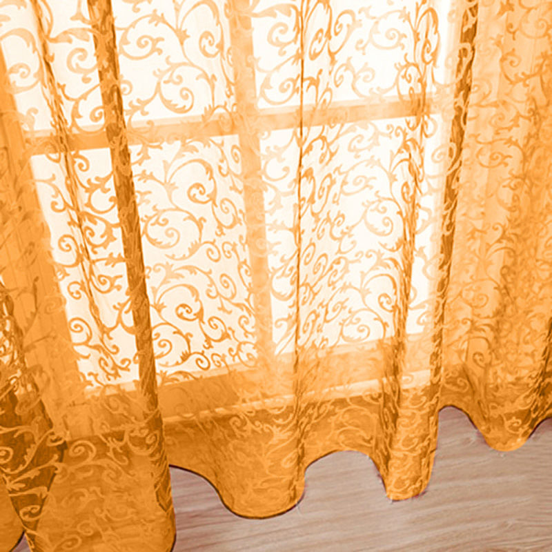 1 pcs Sheer Curtain Panel Chic Room Floral Tulle Curtain Window Door Balcony Lifting Sheer Valance Scarf Curtain Room Decor