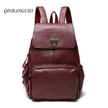 Qinranguio рюкзак женские винтажные Рюкзаки для девочек-подростков твердый кожаный рюкзак 2017 высокое Класс Школьные ранцы Mochila feminin