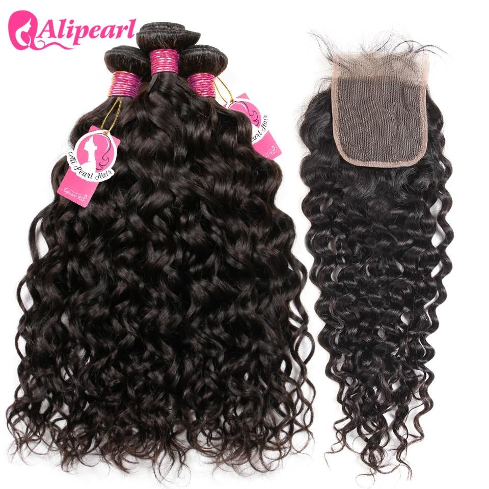 AliPearl Hair 100% Human Hair Water Wave Bundles With Closure Peruvian Hair Weave 3 Bundles Natural Color Remy Hair Extension