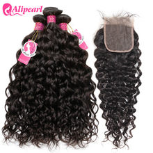 AliPearl Hair 100% Human Hair Water Wave Bundles With Closure Peruvian Hair Weave 3 Bundles Natural Color Remy Hair Extension(China)