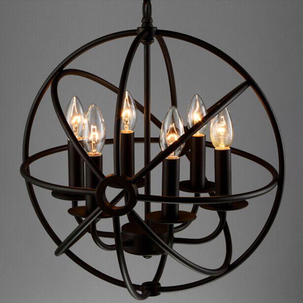 6 Arm Birdcage Chandelier Light Vintage Loft Globe Chandelier Lamp Nordic Retro Free Shipping P GLT816