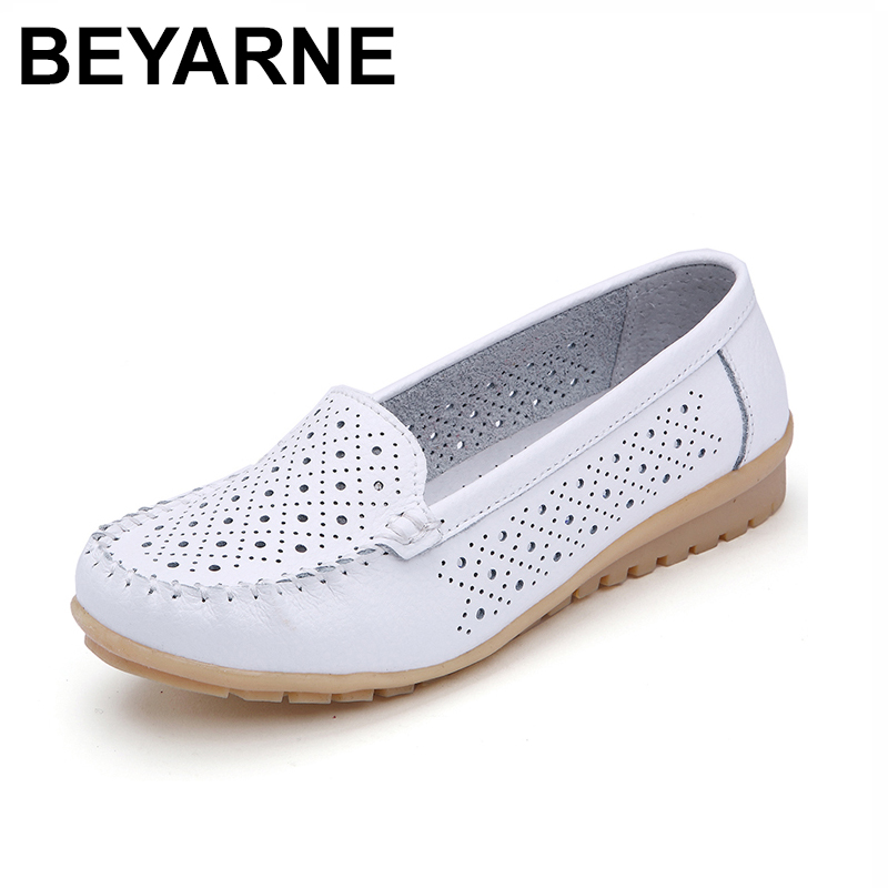 BEYARNE 2018 Spring women flats shoes women genuine leather shoes woman cutout loafers slip on ballet flats ballerines flats 169 timetang spring womens ballet flats loafers soft leather flat women s shoes slip on genuine leather ballerines femme chaussures
