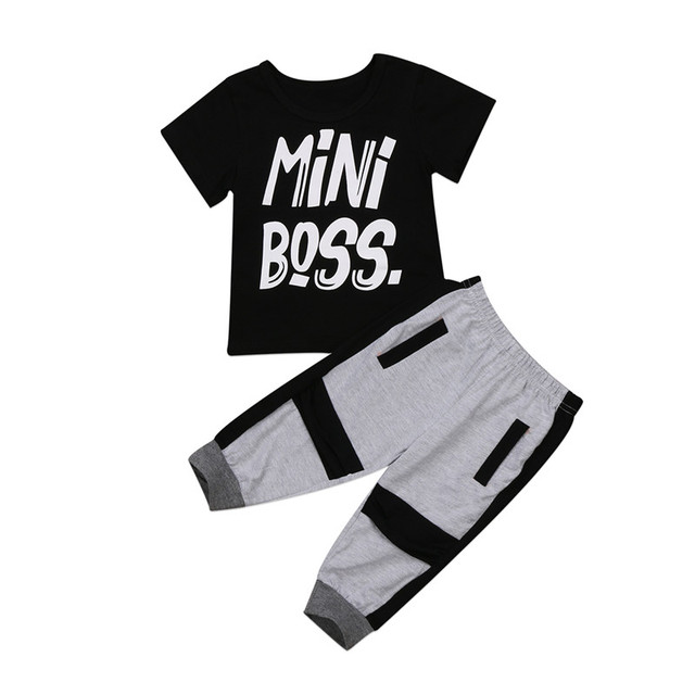 604fd9363 Hot Toddler Kids Baby Boy Clothing short Sleeve Mini Boss Letter Print T- shirt Tops Pants 2Pcs Set Stylish Outfits Clothes 1-6Y