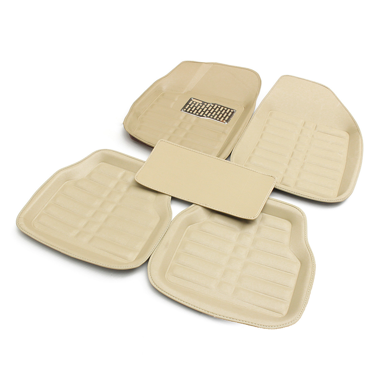 5Pcs Beige PU Leather Universal Car Floor Leather Front Rear Liner Easy Clean Waterproof Mat Auto Anti Slip Carpet All Season 5 seats 1 set customs car floor mat leather waterproof front