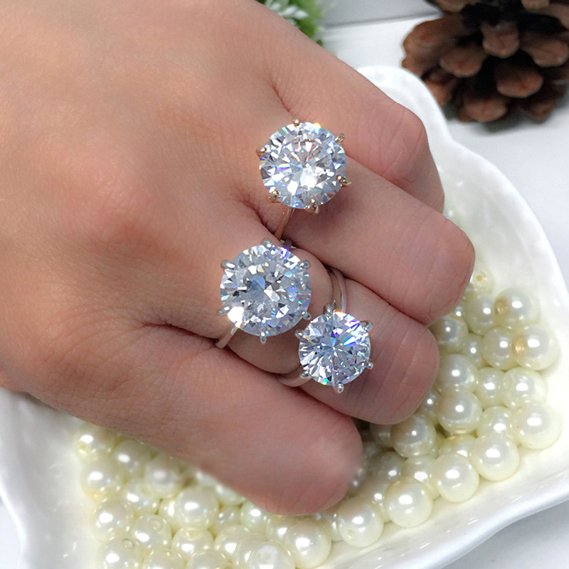MOONROCY Silver Color Cubic Zirconia Crystal Promise Wedding Rings for Women 5 Carat Bride Accessories Jewelry Dropshipping 2