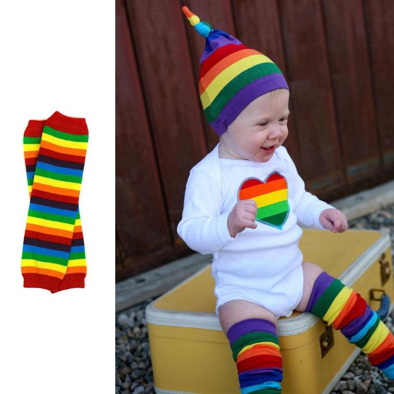 Rainbow Baby Boy Girls Leg Warmers Baby Knee Pads