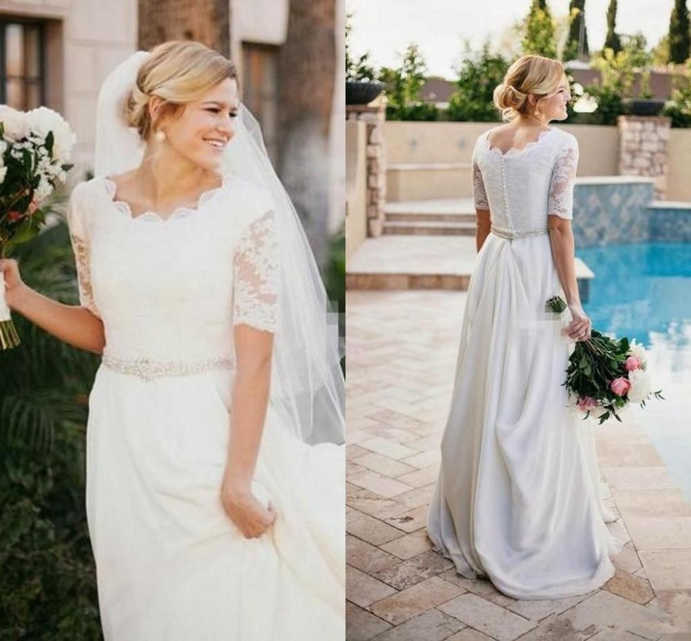 Casual Illusion Half Sleeve Country Wedding Dresses Crew