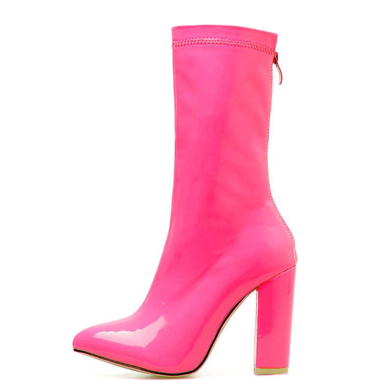 Europa Band Frauen Stiefel Mujer Sexy Candy Farbe Patent PU Leder Frauen Botas Stiletto Damen Spitz Klobigen High Heels stiefel