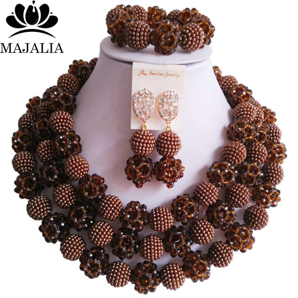 Fashion Nigeria Wedding Brown african beads jewelry set Crystal Plastic pearl necklace Bridal Jewelry Sets Free shipping VV-163Fashion Nigeria Wedding Brown african beads jewelry set Crystal Plastic pearl necklace Bridal Jewelry Sets Free shipping VV-163