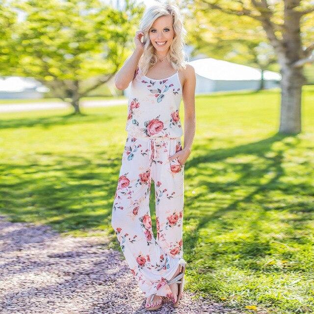 2019 women Super Comfy Floral Jumpsuit Fashion Trend Sling Print Loose Piece Trousers 4