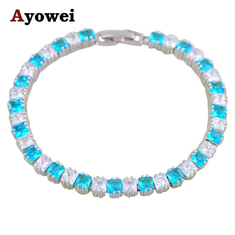 For Women Best Chirstmas Gift Pretty Jewelry Light Blue Zircon Silver Charm Bracelets Fashion Jewelry TBS1084A