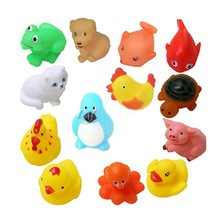 13Pcs Lovely Mixed Animals Colorful Soft Rubber Float Squeeze Sound Squeaky Bathing Toy For Baby