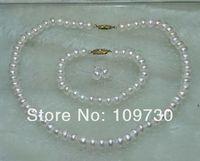 Ювелирные изделия 00572 оптовая продажа 10 компл. белый жемчуг ожерелье браслет и серьги серебро 925 Шпилька