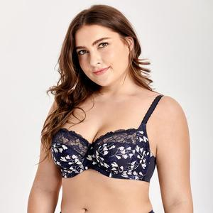 Image 3 - Womens Plus Size Underwire Non Padded Full Cup Lace Balconette Bra