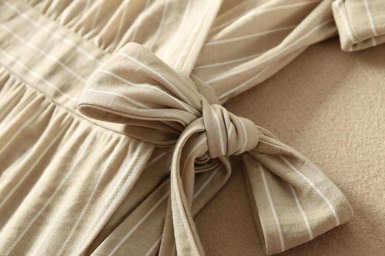 فستان نسائي مخطط برقبة على شكل V بأكمام قصيرة مزيج من الفسكوز موديل 2019ss