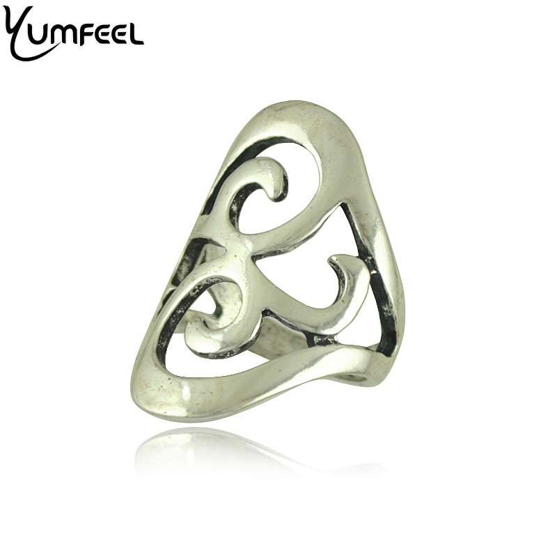 Yumfeel New Gifts Jewelry Ring Antique Silver Plated Hollow Out Design Ring for Women anillos