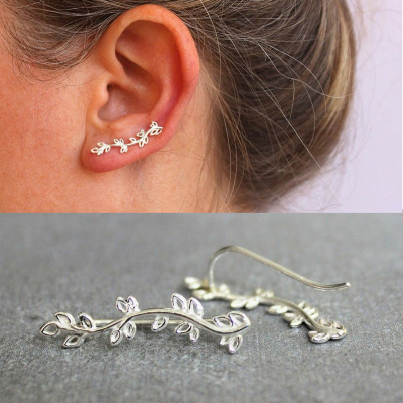 LUKENI Fashion Personality Metal Leaf Simple Ear Sweep Wrap Silver Gold Ear Climber Leafs Ear Clip Cuffs Earrings for Women золотые серьги по уху