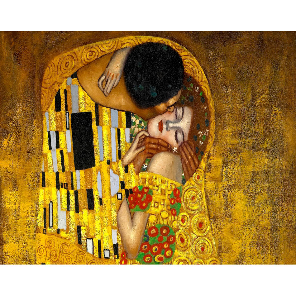 Oil Painting Style Gustav Klimt the Kiss 3D Non Woven Fabric Wallpaper Mural Household Commerce Wall Papel De Parede Linvingroom