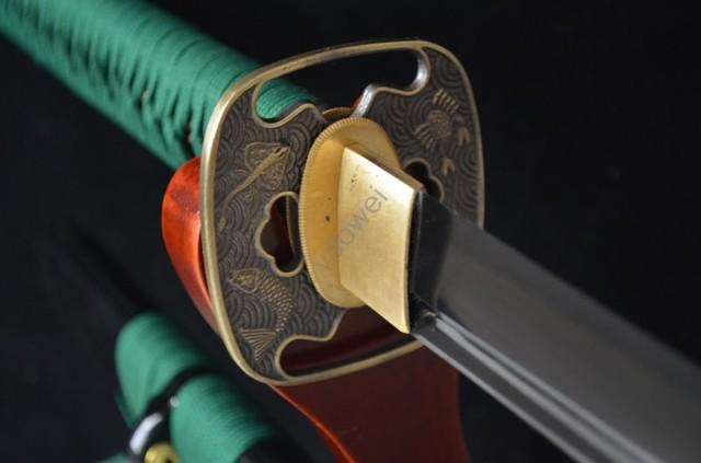 BLACK LACQUER SHEATH WOODEN JAPANESE SAMURAI KATANA SWORD NINJA BLACK BLADE 1060 HIGH CARBON STEEL SHARP CAN CUT BAMBOO TREE