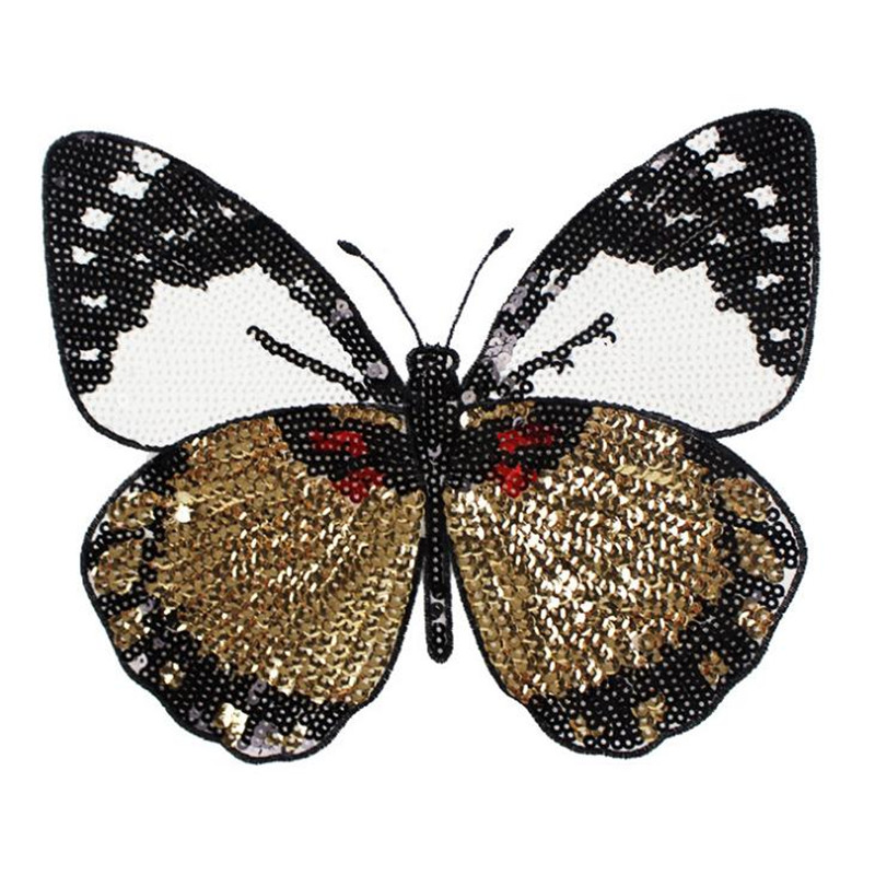 Patches for clothing T shirt Women 22cm Large butterfly Sequined Sequins T-shirt Womens Fashion Tops Shirt Womens Patch Clothes