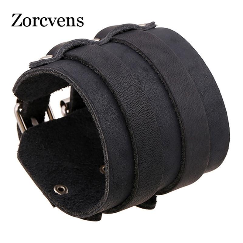 ZORCVENS Vintage Genuine Leather Wristband Bracelets Brand Punk Wide Cuff Charm Bracelets for Men