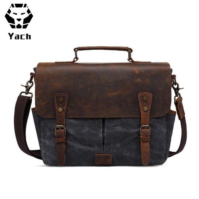 4ac33f469e Mens Messenger Bag Vintage Genuine Leather Large Laptop Briefcase 15.6 Inch  Waterproof Waxed Canvas Satchel Shoulder Bag