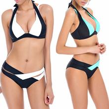 2018 New Bikinis Women Swimsuit Summer Bikini Set Beach Wear Push Up Swimwear Bandage Bathing Suit Black And White Biquini XL