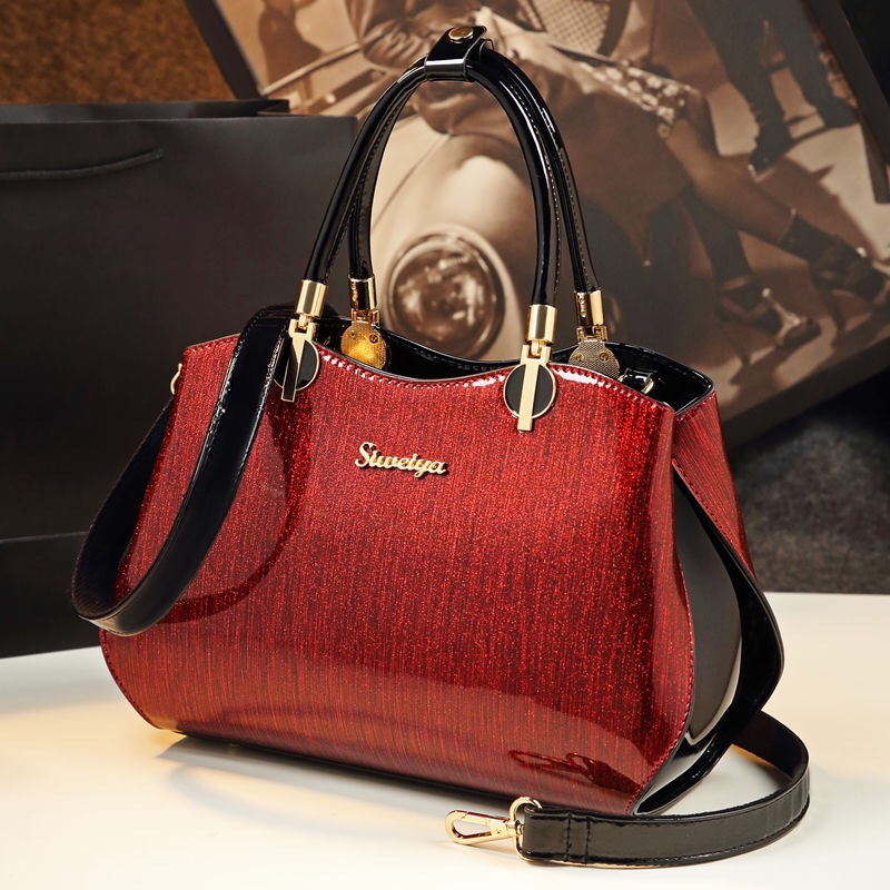 New bags for women patent leather handbags fashion bright leather shoulder bag ladies office work clutch bride red wedding tote