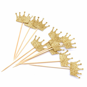 Image 2 - 10pcs Gold/Silver Glitter Paper Crown Cake Paper Topper Kit Personalized Wedding Baby Shower Birthday Cupcake Decorations