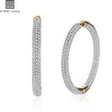 Luxury Rhinestone Crystal Large Hoop Earrings for Women Big Earrings Circle  Female Inlay Zircon Gold- 7685fa202377