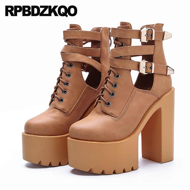105bafb399f7 ... Fall Shoes Rock White Booties Extreme Belts Chunky Black High Heel  Ankle Lace Up Women Zipper ...