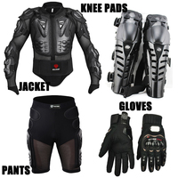 4in1 Motorcycle Sport racing Protective Armor full body armor jackets + Racing Shorts + Knee pads + Gloves