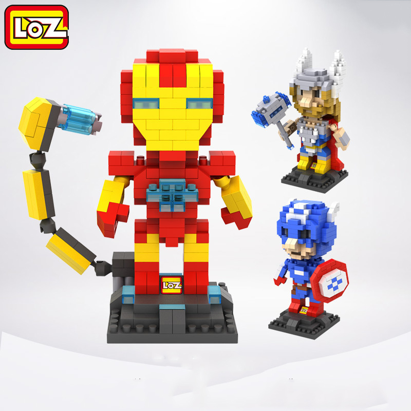 3pcs/lot LOZ Marvel Diamond Building Blocks Super Hero Nano Bricks Toys DIY Assembled Children Intelligence Model Toys Gifts 12 style one piece diamond building blocks going merry thousand sunny nine snakes submarine model toys diy mini bricks gifts