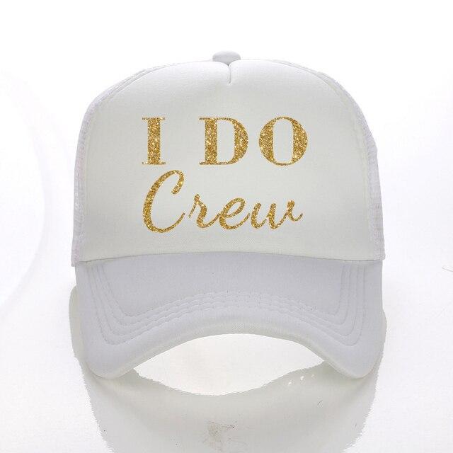 e0227484ddfd8 2017 new Hot Sale I DO Crew Print Trucker Caps Men Women Mesh Summer Flat  Curved Visor Snapback Hat White Black Cap