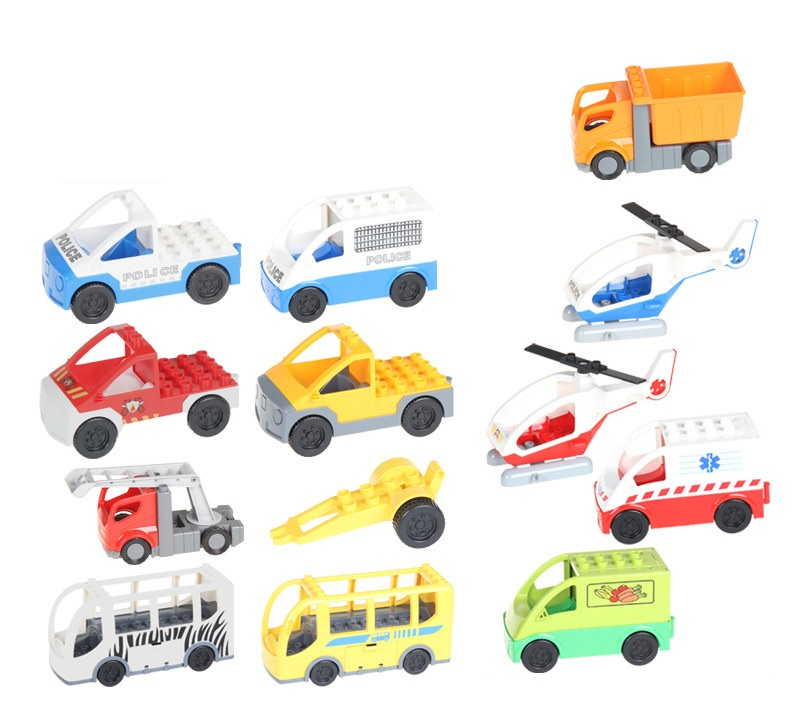 Duplo City Car Police Big Building Blocks Brick Model Figure DIY Kid Girl Original Toy Lepin Duplo Mini Figures Children hobbies superwit 72pcs big size city diy creative building blocks brick compatible with duplo sets lepin educational toys children gifts
