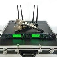 ไร้สายmicrofonoมืออาชีพไมโครโฟนมือถือUHF 2x100ช่องr ack m ountไมค์สำหรับ