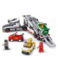 638Pcs City Auto Transport Truck Aircraft Car Building Blocks Compatible Legoings Model Building Kit Childhood Accompany