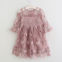 Lace Girl Dress Summer Long Sleeve Dress Yarn Princess Dress Soft Cotton Girl Clothes Girl Party