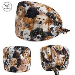 Скраб шапки для мужчин и женщин больничные медицинские шапочки с принтом собаки в черном Tieback эластичная секция 100% хлопок хирургические
