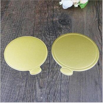 100/piezas lote creativo de moda redonda bandeja dorada de papel de cartón mantequilla pastel pequeñas herramientas de cocina
