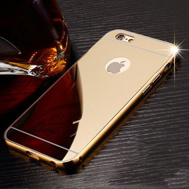 For Iphone 5s Se 7 Plus Case Thin Aluminum Metal Mirror