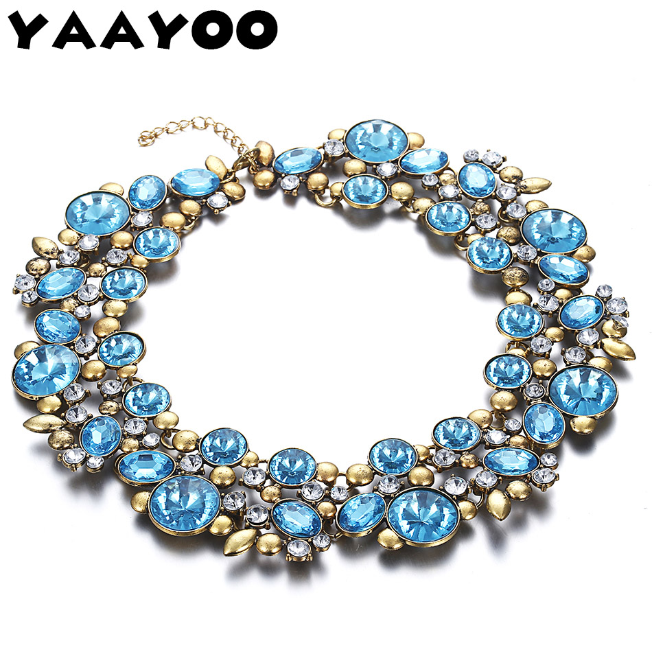 YAAYOO 2016 Newest Women Large Vintage Colorful Plated Crystal Torques Chokers Statement Necklaces Collar For Gift Girl NL108