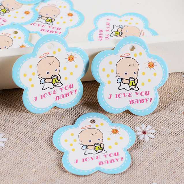 100pcs Pink / Blue Baby Shower Tags Gift Tags Birthday Party Favors  Scrapbook Small Cards For