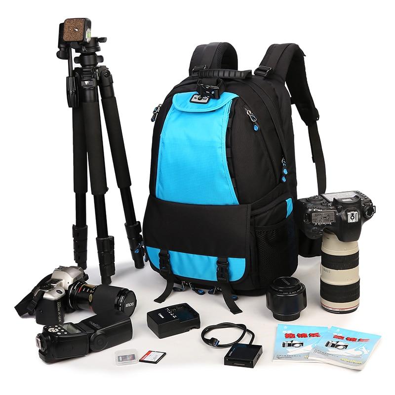 цена на Large Space Trolley Photo SLR  Case Camera Nylon Bags Big Capacity Camera Waterproof Backpack