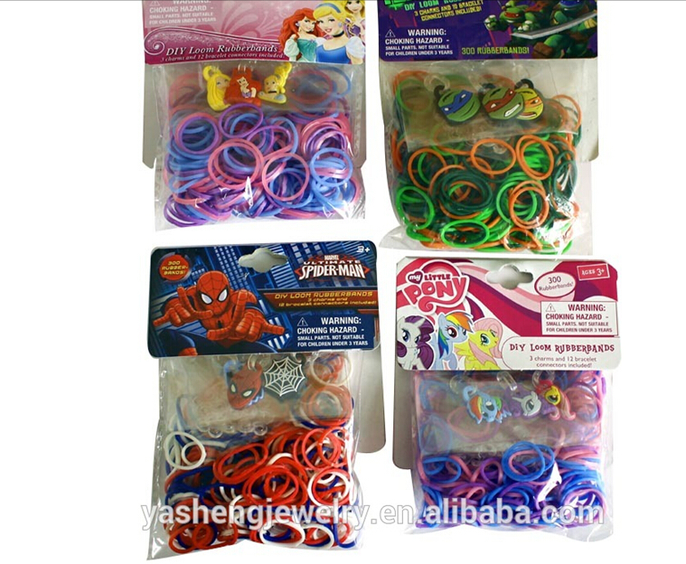 300pcs/lot Colorful loom bands for DIY braided bracelets with cartoon characters rubber band multicolor small Elastic Hair Bands