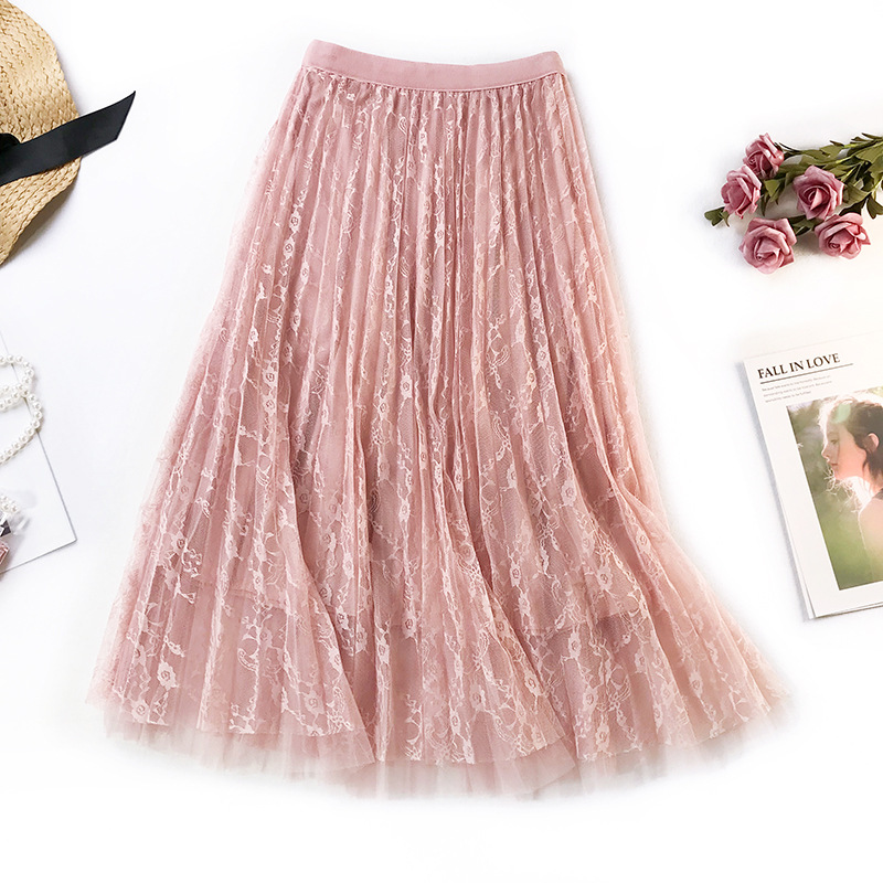 Women Long Tulle Skirt High Waist Elascity Maxi Pleated Skirt 2019 Spring Sweet Pink Party Skirt Fashion Lace A-line skirt Femal
