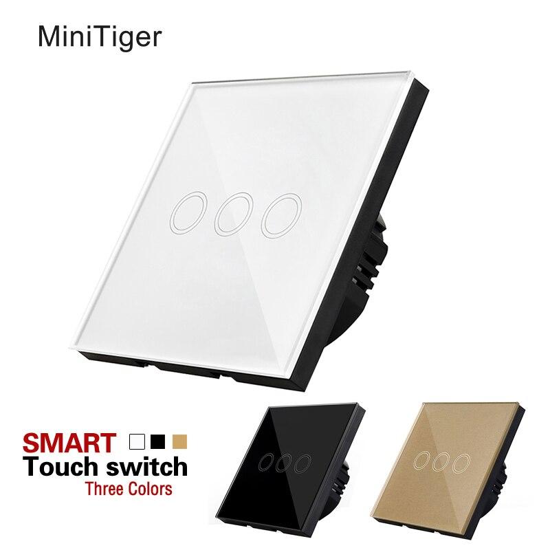 Tactile Standard de L'UE Switch 3 Gang 1 Voies blanc/noir/Or, interrupteur du panneau de Verre, Étanche et durable, Mur Light Touch Commutateur